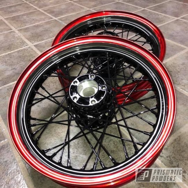 Powder Coating: Wheels,Automotive,Clear Vision PPS-2974,LOLLYPOP RED UPS-1506,Ink Black PSS-0106,Motorcycles
