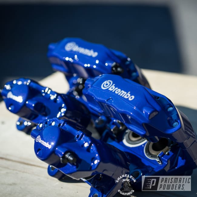 Powder Coating: 350z,Calipers,Clear Vision PPS-2974,Nissan,Brembo Calipers,Brake Calipers,Caliper,Alien Silver PMS-2569,Bristol Blue PMB-4848,Brake Caliper