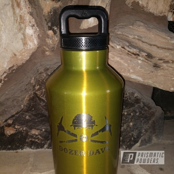 Powder Coated Gold Custom Water Bottle