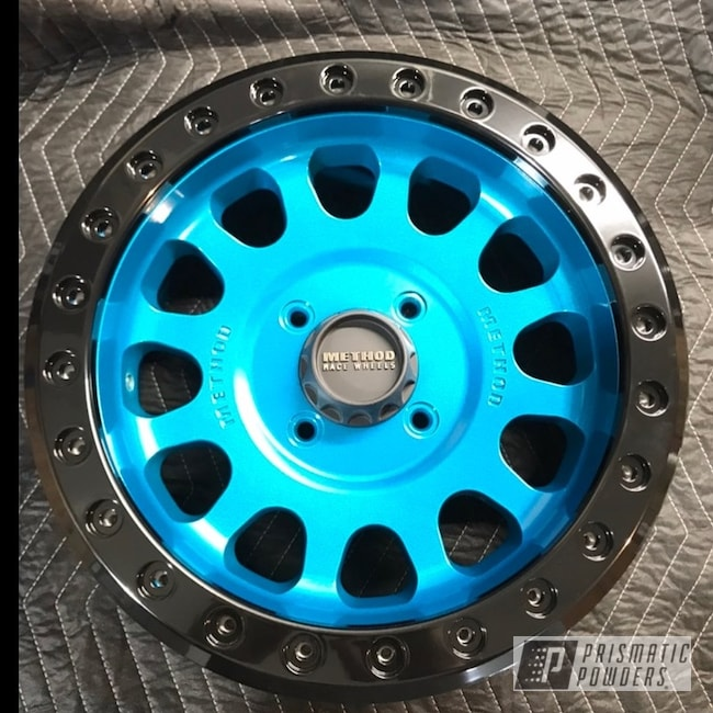 "Powder Coating: HAWAIIAN TEAL UPB-1736,Clear Vision PPS-2974,Ink Black PSS-0106,Beadlock Ring,Method,Alien Silver PMS-2569,15"" Wheel,Beadlock"