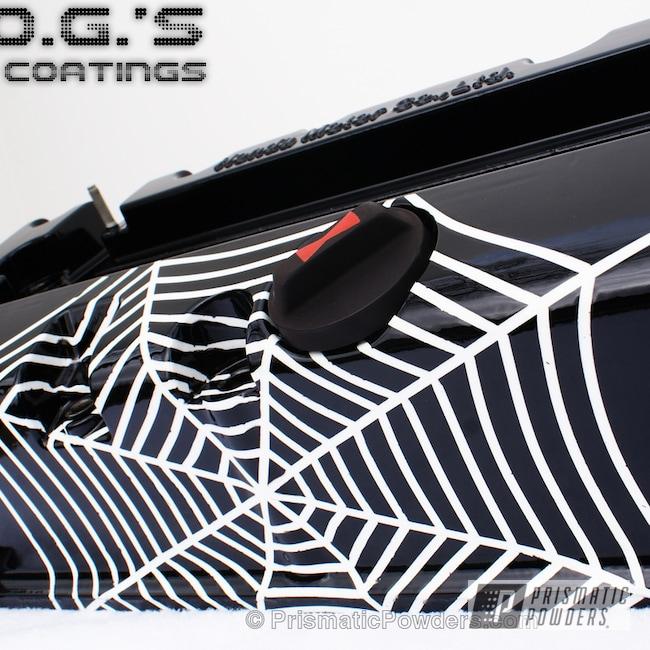 Powder Coating: Custom,K20 Valve Cover Black Widow,Automotive,Black,white,powder coating,powder coated,Prismatic Powders,Valve Cover,Snowcone White PSS-4369