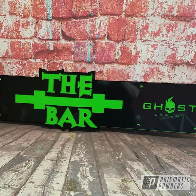Powder Coating: Metal Art,Ink Black PSS-0106,Ghost Strong,Kiwi Green PSS-5666,Custom Sign