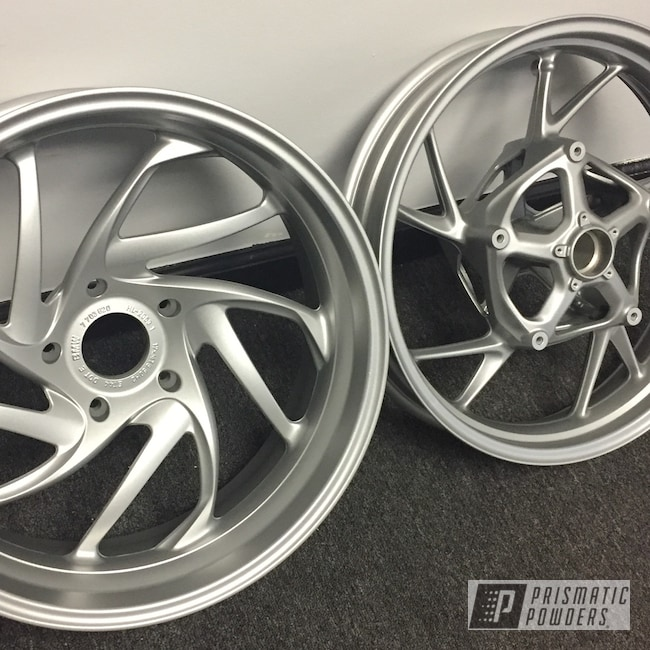 Powder Coating: Wheels,BMW Silver PMB-6525,Automotive,Motorcycle Wheels,Motorcycles