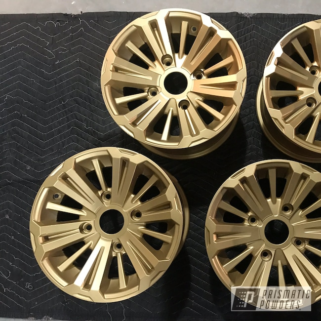 "Powder Coating: Wheels,Automotive,UTV,Honda,15"" Wheels,Satin Poly Gold PMB-6487,15"" Wheel"