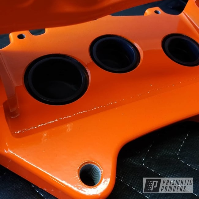 Powder Coating: Automotive,Cadillac CTS-V,Brembo,Brake Calipers,Orange Glow PSS-2876