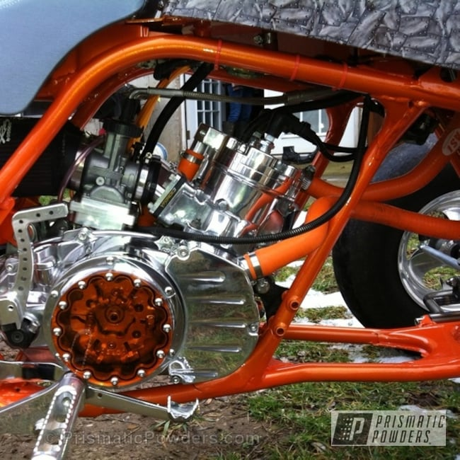 Powder Coating: Orange Soda PMB-1585,Custom,Off-Road,Yamaha Banshee Parts,powder coating,powder coated,Prismatic Powders,Orange