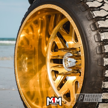 Powder Coated Gold Custom Ford F250 Truck Wheels