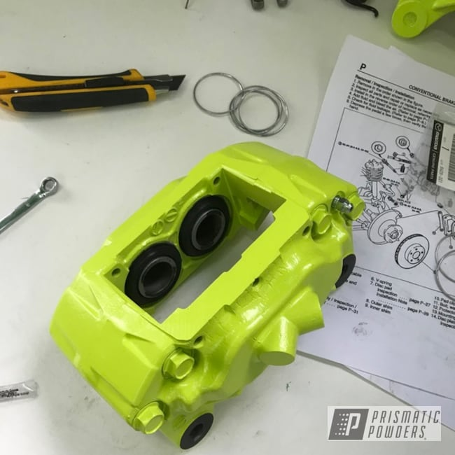 Powder Coating: Automotive,Chartreuse Sherbert PSS-7068,RX7,Mazda,fd,Brake Caliper
