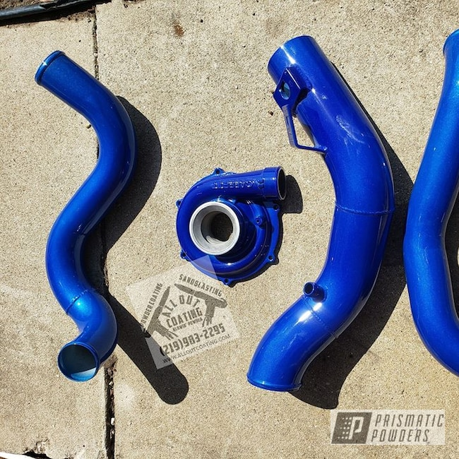 Powder Coating: Automotive,Turbo Housing,Clear Vision PPS-2974,Intake Pipe,Ford,f250,6.0L,Illusion Smurf PMB-6909