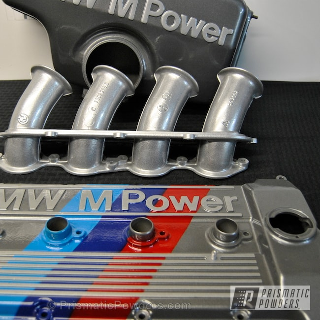 Powder Coating: Automotive,Cosmic Grey PMB-1756,Clear Vision PPS-2974,Heavy Silver PMS-0517,Heavy Silver lettering and Stripes,Powder Blue,Astatic Red BMW Motorsport colors,BMW E30 M3 Valve Cover,Cosmic Gray Base,Truck Blue,Valve Cover