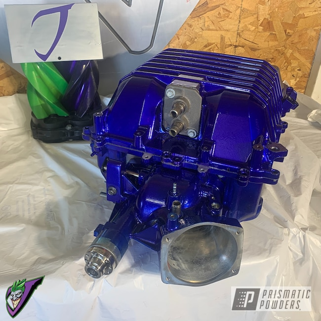 Powder Coating: Automotive,SUPER CHROME USS-4482,LOLLYPOP BLUE UPS-2502,Eaton Supercharger,ZL1,LSA,Car Parts,LSA Supercharger,Supercharger