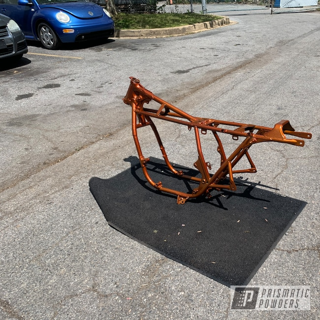 Powder Coating: Automotive,Motorcycle Frame,Honda,Disco Tangerine PPB-7046,Motorcycles,Illusion Rootbeer PMB-6924