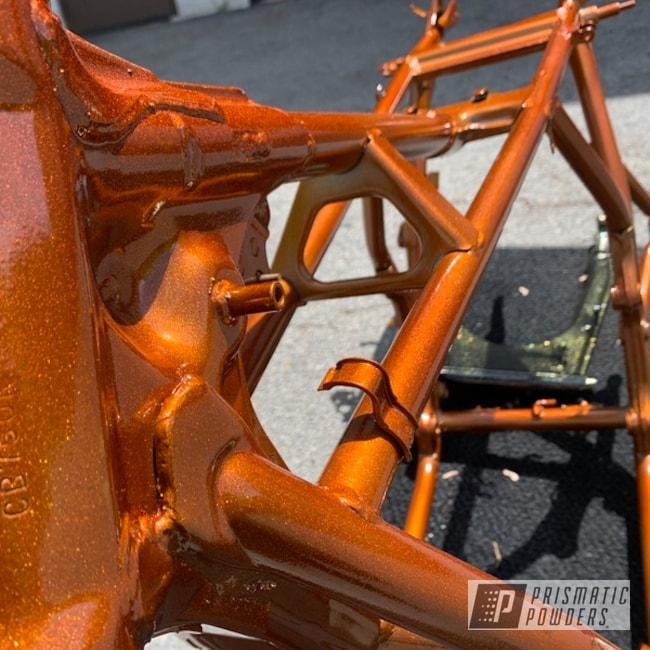 Powder Coating: Automotive,Motorcycle Frame,Honda,Disco Tangerine PPB-7046,Motorcycles,Illusion Rootbeer PMB-6924