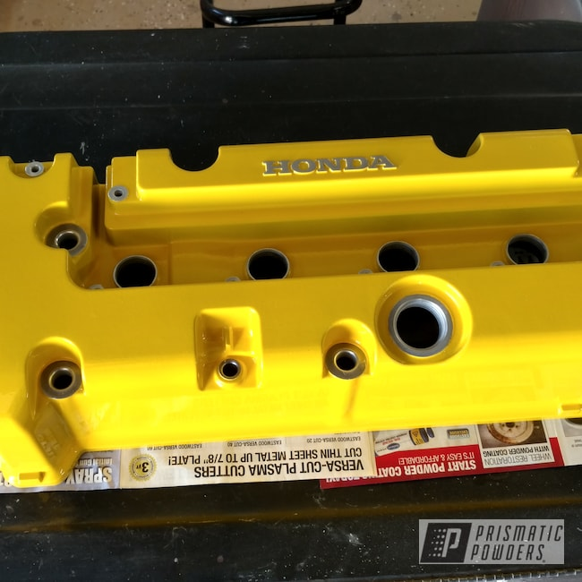 Powder Coating: Automotive,Clear Vision PPS-2974,Honda,Valve Cover,Hot Yellow PSS-1623