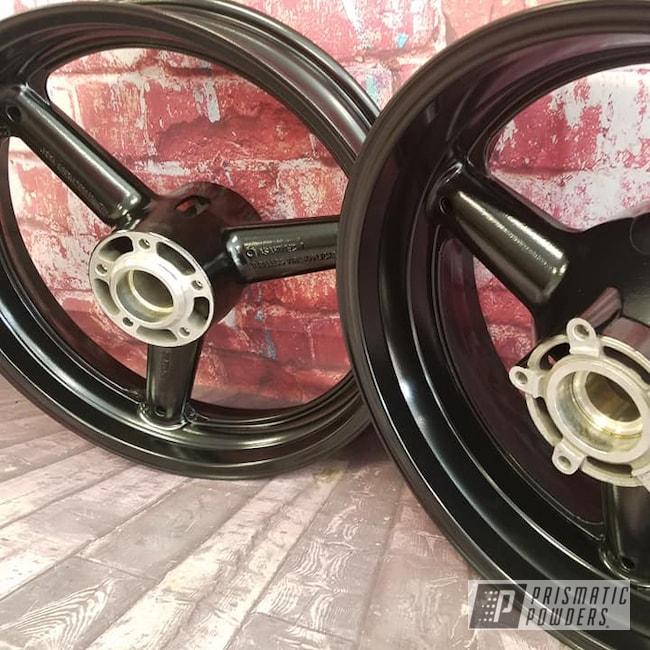Powder Coating: Card Black PSS-1523,Wheels,Automotive,Motorcycle Rims,Aluminum Rims,Motorcycles,Suzuki Motorcycle