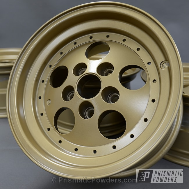 Powder Coating: Wheels,Automotive,Poly Gold Wheels powder coated,Poly Gold PMB-4211