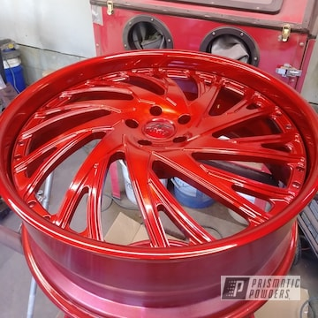 Powder Coated 26 Inch Red Wheels In Pmb-6525 And Ups-1506