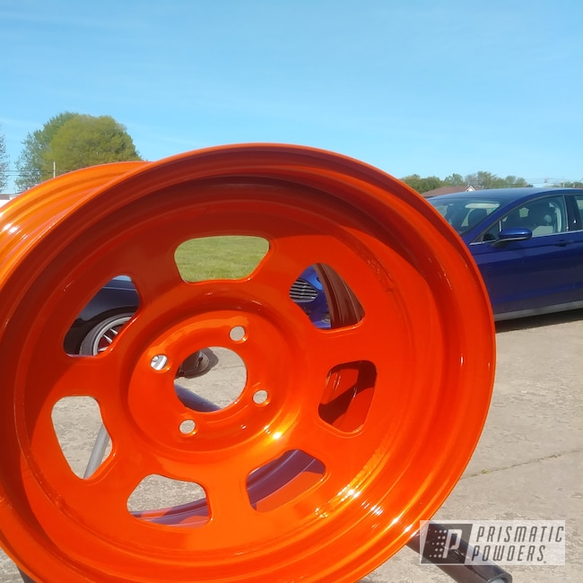 "Powder Coating: Wheels,Automotive,Clear Vision PPS-2974,15"" Wheels,Illusion Tangerine Twist PMS-6964"