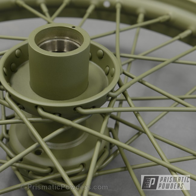 Powder Coating: Wheels,Spoke Wheels custom powder coated prismatic,Casper Clear PPS-4005,Army Green PSB-4944