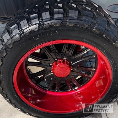 Powder Coating: Wheels,Truck Parts,Automotive,TWISTED WIZARD RED UPB-5514,Heavy Silver PMS-0517,Lifted,Custom Powder Coated Wheels,Lifted Truck,2 Tone Wheels,Suspension