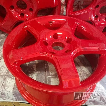 Powder Coated Custom 16 Inch Wheels In Pps-2974 And Pms-4515