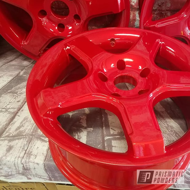 "Powder Coating: Wheels,Automotive,Illusion Powder Coating,Clear Vision PPS-2974,Aluminum Rims,16"" Wheels,Illusion Red PMS-4515,Automotive Rims"