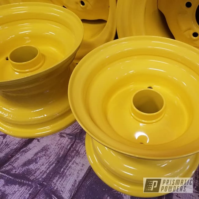 Powder Coating: Steel Wheels,RAL 1018 Zinc Yellow,Garden Tractor,John Deere