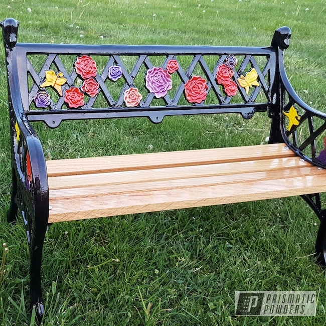 Powder Coated Restored Cast Iron Bench