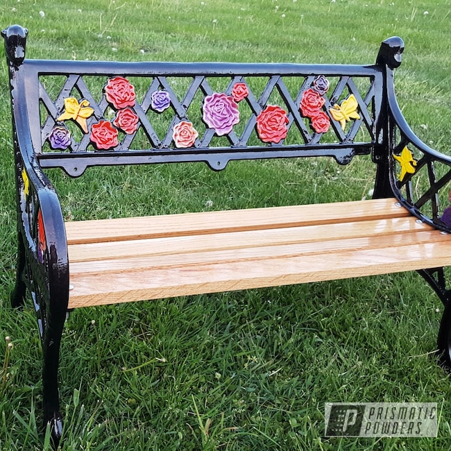 Powder Coating: Iced Black Cherry PMB-2323,Clear Vision PPS-2974,Plue PPB-5630,Bench,Restoration,Cast Iron,Very Red PSS-4971,Yes Yellow PSS-5691,ANODIZED GRAPE UPB-1510,flower bench cast iron vintage sheep