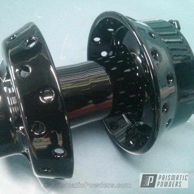 Powder Coating: Single Powder Application,Ink Black PSS-0106,Wheel Hub,Motorcycles,Solid Tone