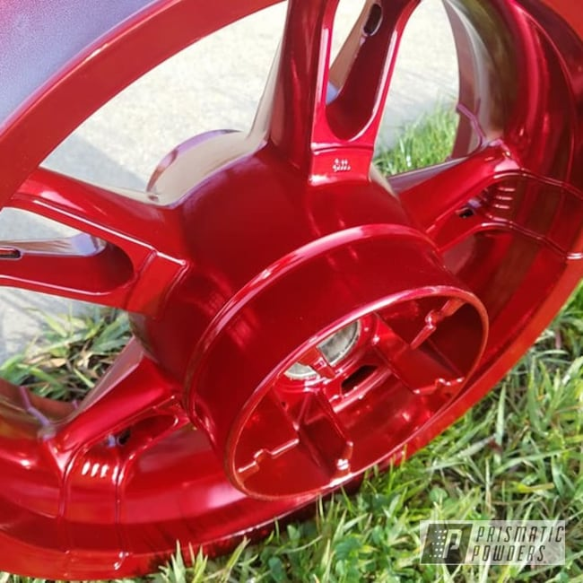 Powder Coating: Automotive,Harley Davidson,SUPER CHROME USS-4482,Two Stage Application,Motorcycle Rims,LOLLYPOP RED UPS-1506,Motorcycles,Transparents