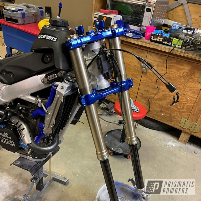 Powder Coating: Automotive,Kawasaki,SUPER CHROME USS-4482,Supermoto,ANODIZED BLUE UPB-1394,Custom Motorcycle,KX450F,Motorcycles,Triple Clamp,Suspension