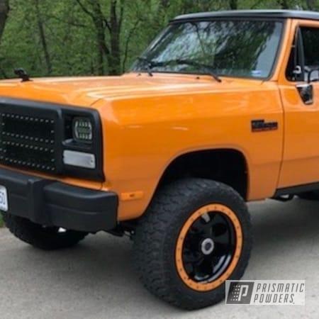 Powder Coating: Wheels,Automotive,Candle Orange PSS-4419,Dodge Ram,Ink Black PSS-0106,Dodge,20inch
