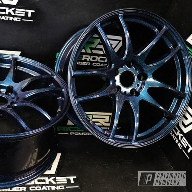 "Powder Coating: Wheels,Automotive,18"" Wheel,Chameleon Sapphire PPB-5729,Ink Black PSS-0106,18"" Rims,18"" Aluminum Wheels"