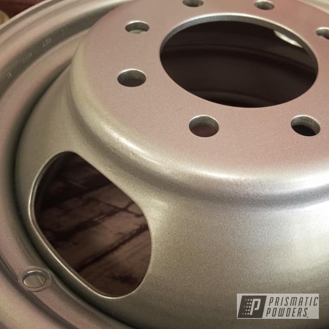 """Powder Coating: Wheels,Dually,Automotive,Heavy Silver PMS-0517,17"""" Wheels,Steel Wheels,Automotive Rims,17"""" Steel Wheels"""