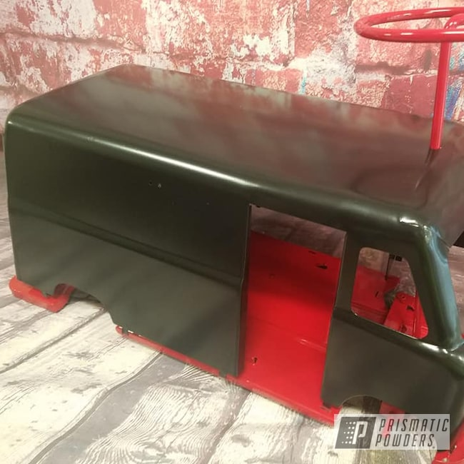 Powder Coating: Toy Truck,Kids Toys,Vintage,Restoration,RAL 3002 Carmine Red,Silk Satin Black HSS-1336