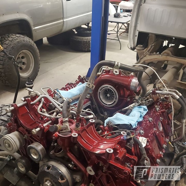 Powder Coating: LML Duramax,Automotive,Chevy Silverado 2500 HD,Intake,Shaded Cherry PPB-8036,Engine Parts,Alien Silver PMS-2569,Duramax