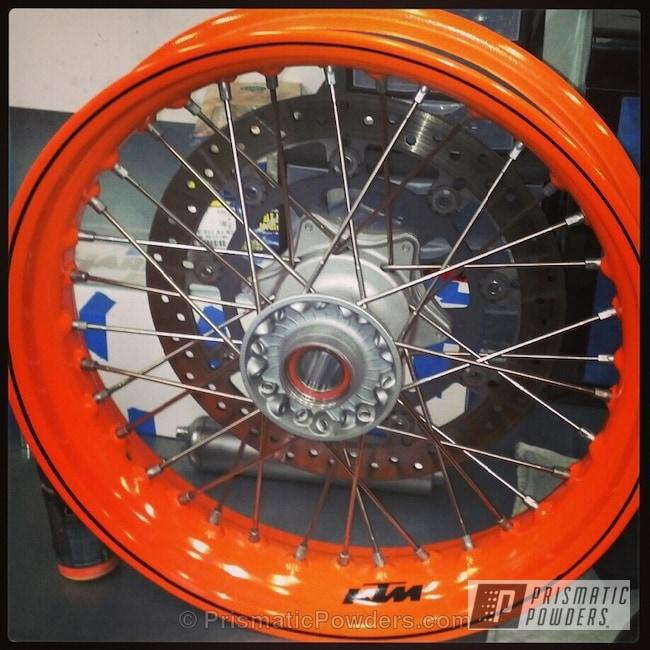 KTM Motorcycle Wheels in Bright Orange