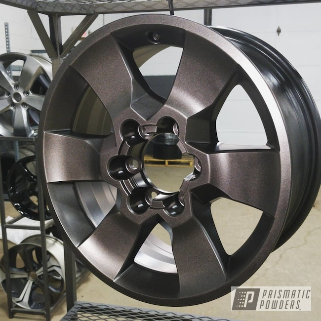 "Powder Coating: Wheels,Automotive,Alloy Wheels,FLAT BLACK METALLIC UMB-6738,17"" Wheels,Toyota,Automotive Wheels,4runner,Aluminum Wheels"