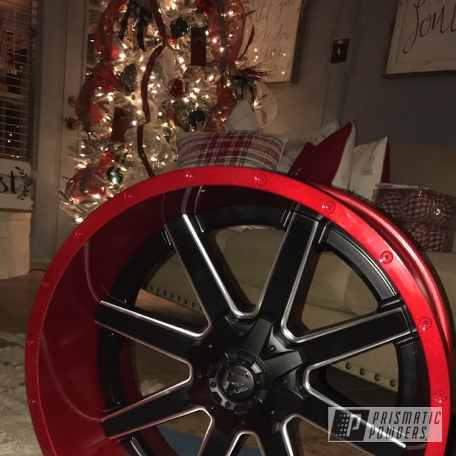 Powder Coating: Wheels,Automotive,LOLLYPOP RED UPS-1506,ford f250,2018,Alien Silver PMS-2569,Suspension