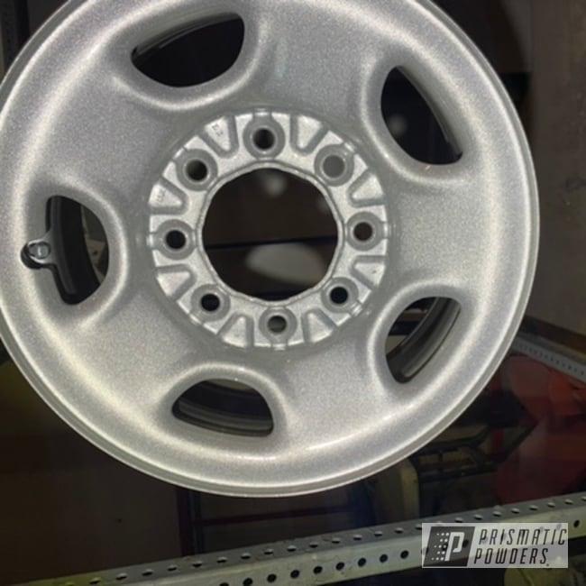 "Powder Coating: Wheels,Automotive,Heavy Silver PMS-0517,17"" Wheels,Steel Rims"