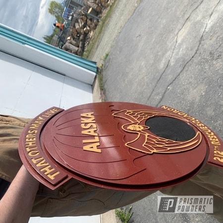 Powder Coating: Military Theme,Burgundy Flare PMB-5068,Retirement Gift,Awards,Metal Sign,Adams Gold PPB-6003