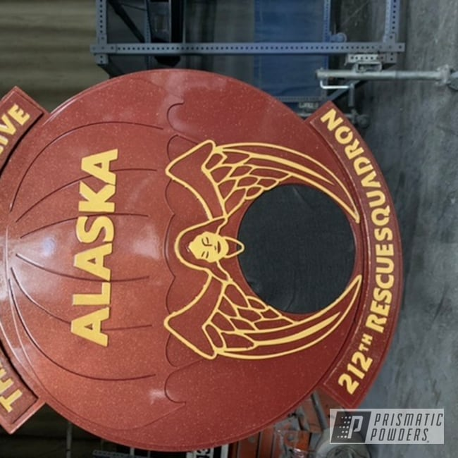 Powder Coating: Military Theme,Burgundy Flare PMB-5068,Retirement Gift,Awards,Metal Sign,Adams Gold PPB-6003