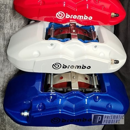 Powder Coating: Red Wheel PSS-2694,Automotive,Calipers,Clear Vision PPS-2974,Brembo Calipers,Brembo,Brake Calipers,Illusion Blueberry PMB-6908,Gloss White PSS-5690,Custom Brakes