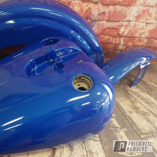 Powder Coating: Illusion Blue-Berg PMB-6910,Automotive,Clear Vision PPS-2974,Restoration,Motorcycles,Motorcycle Fenders,Motorcycle Gas Tank,Illusions