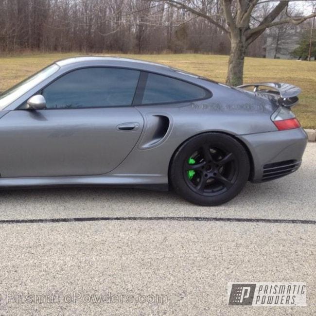 Powder Coating: Custom,Porsche 996 Calipers,Limelite PMB-0869,Green,powder coating,powder coated,Prismatic Powders,Emerald Ice PPB-5112,Custom 2 Coats