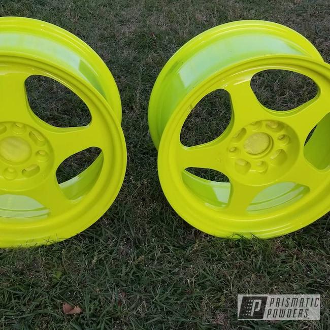"Powder Coating: Wheels,Automotive,Drag Car,Civic EK,16"" Wheels,Quarter Mile,Honda,Neon Yellow PSS-1104,Turbo,Shocker Yellow PPS-4765"