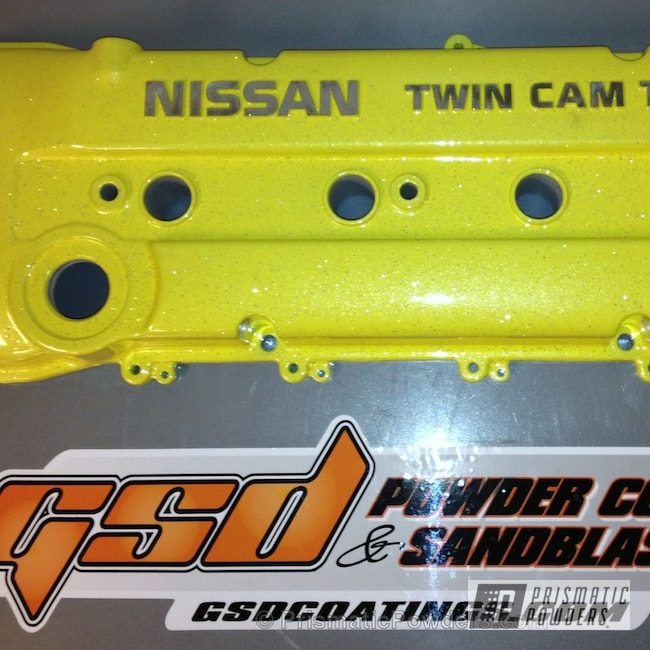 Powder Coating: Custom,Automotive,Yellow,Nissan Valve Cover,powder coating,powder coated,Prismatic Powders,Rockstar Sparkle PPB-5835,Cosmic Yellow PMB-2132,Valve Cover