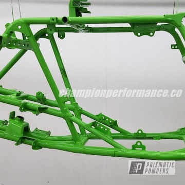 Powder Coated Kawasaki Motorcycle Frame In Ral 6018