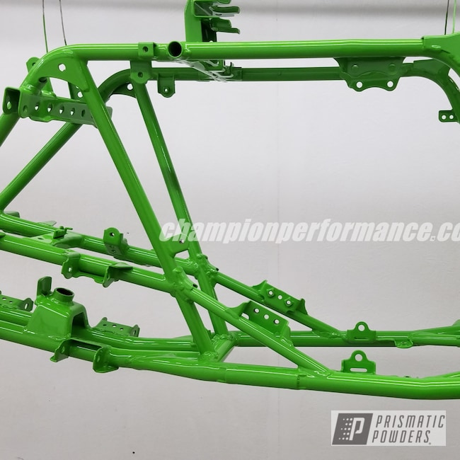 Powder Coating: ATV Frame,Kawasaki,Motorcycle Frame,RAL 6018 Yellow Green,Motorcycles